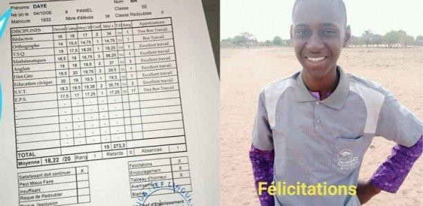 L'élève Daye Bâ obtient une moyenne de 18/20… Il marche 10 km chaque jour pour aller à école…